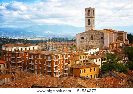 Perugia - a view of the old town and the Basilica di San Domenico Umbria