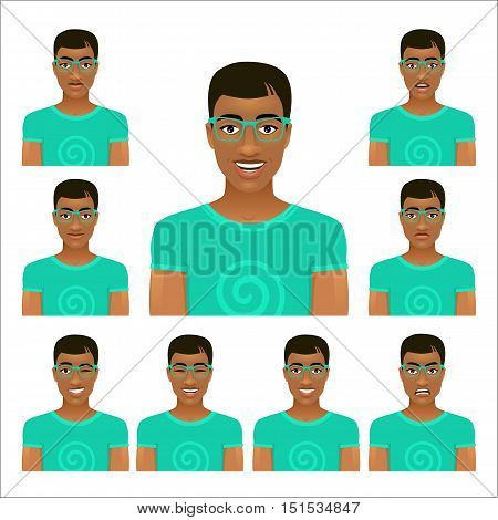 Hansome young man face in glasses with nine different facial expressions. Vector cartoon avatar icon set on white background.