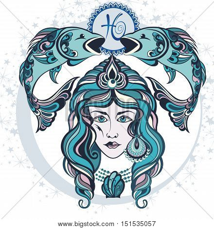 Decorative Zodiac sign Pisces for your design