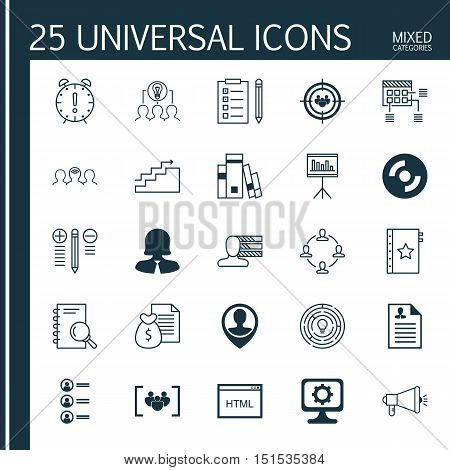 Set Of 25 Universal Icons On Blank Cd, Innovation, Curriculum Vitae And More Topics. Vector Icon Set