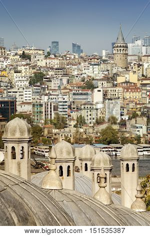 Galata Tower And Buildings At Galata District From Suleymaniye Mosque Terrace, Istanbul, Turkey