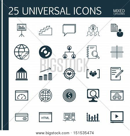 Set Of 25 Universal Icons On Education Center, Website Performance, Report And More Topics. Vector I