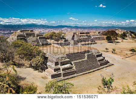 Monte Alban is an ancient Zapotec capital and archaeological site, near Oaxaca, Mexico.