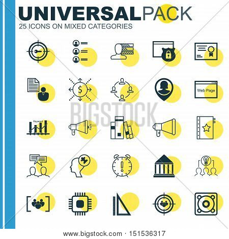 Set Of 25 Universal Icons On Keyword Marketing, Measurement, Collaboration And More Topics. Vector I