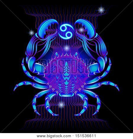 Neon signs of the Zodiac: Cancer. A series of signs of the zodiac. Made in neon art. On a black background constellations.