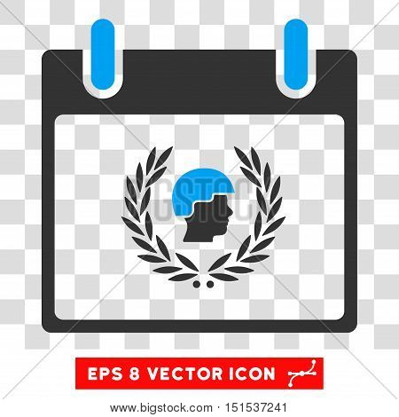 Vector Soldier Laurel Wreath Calendar Day EPS vector pictograph. Illustration style is flat iconic bicolor blue and gray symbol on a transparent background.