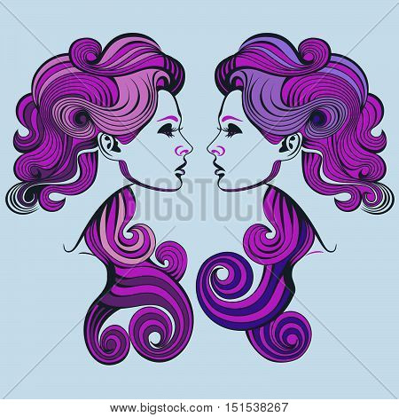 Twin sisters in profile. Vector line drawing