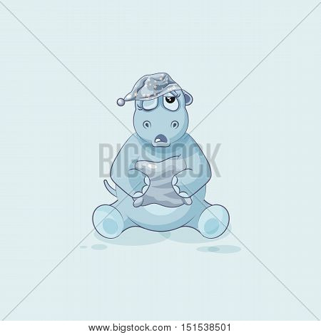 Vector Stock Illustration isolated Emoji character cartoon sleepy Hippopotamus in nightcap with pillow sticker emoticon for site, info graphic, video, animation, website, mail, newsletters, reports