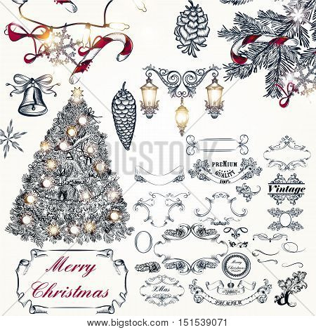 Christmas antique collection from decorative elements and Xmas decorations in vintage style