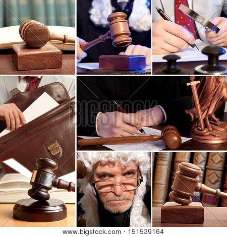 Law, court, judge, justice and lawyer concept - set of wooden gavel