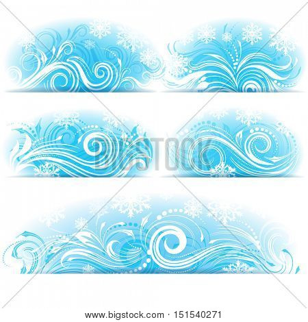 Set of banners of Stylized frosty ornament