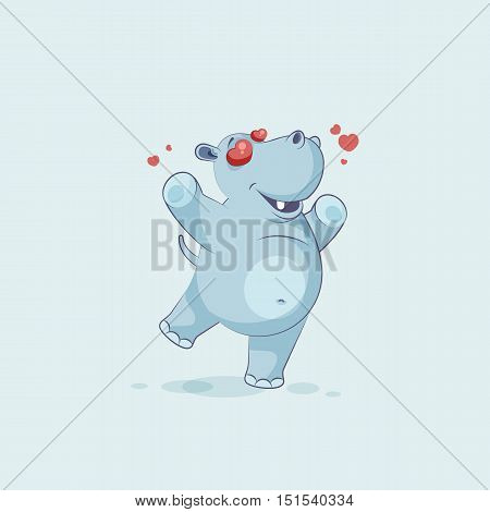 Vector Stock Illustration isolated Emoji character cartoon Hippopotamus in love flying with hearts sticker emoticon for site, info graphics, video, animation, websites, mail, newsletter, report, comic