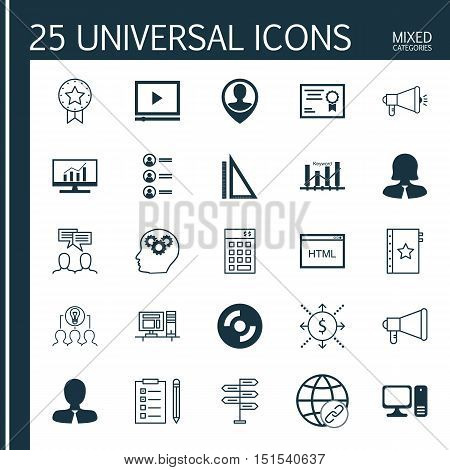 Set Of 25 Universal Icons On Keyword Optimisation, Manager, Certificate And More Topics. Vector Icon