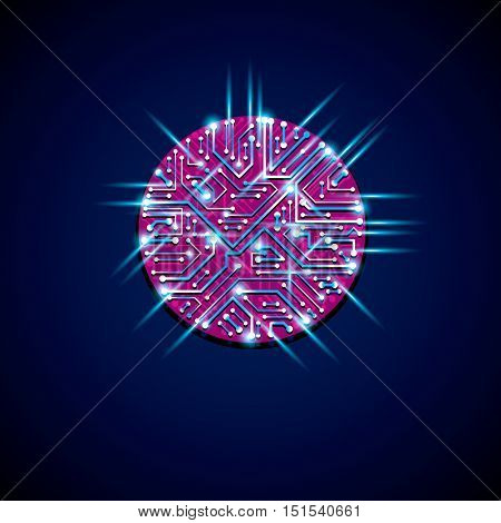 Round Luminescent Blue And Magenta Circuit Board With Electronic Components Of Technology Device. Co