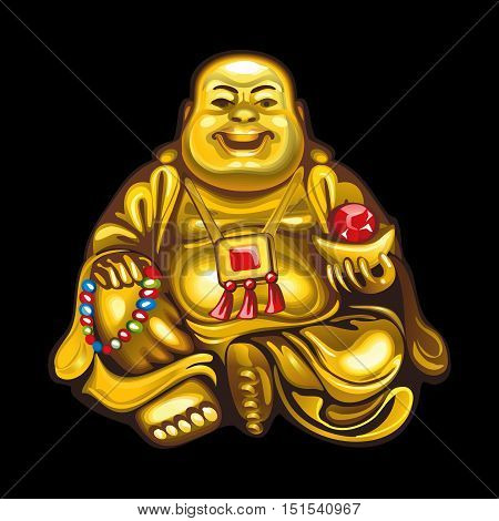 Collection of mascots: Hotei. Vector objects talismans Feng Shui on a black background.