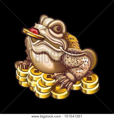 Collection of mascots: frog with coins. Vector objects talismans Feng Shui on a black background.