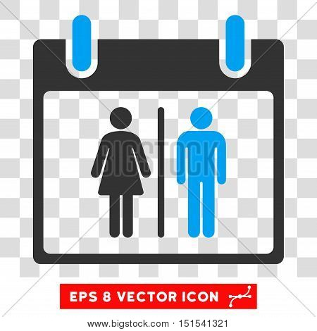 Vector Water Closet Calendar Day EPS vector pictograph. Illustration style is flat iconic bicolor blue and gray symbol on a transparent background.