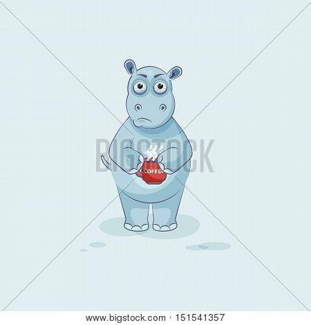 Vector Stock Illustration isolated Emoji character cartoon Hippopotamus nervous with cup of coffee sticker emoticon for site, info graphics, video, animation, website, mail, newsletter, report, comics