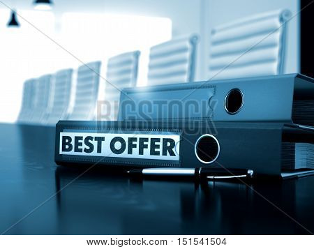 Best Offer - Business Concept on Toned Background. Ring Binder with Inscription Best Offer on Office Desk. Best Offer. Concept on Toned Background. 3D.