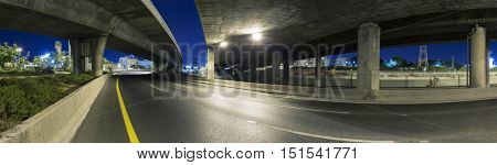 Empty freeway at night - Panoramic shot