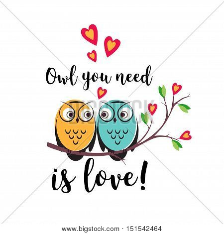 vector love couple owls with hearts on a tree branch. An insulated design on a white background for Valentine s day or wedding. cute illustration with quote owls need is love for postcards.