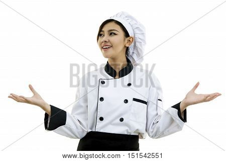 Portrait Of Young Woman Chef Isolated On White Background