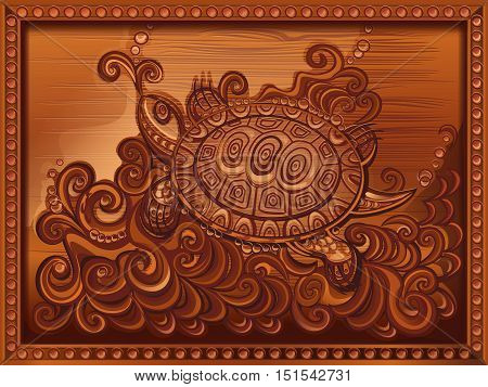 woodcarving turtle carved on the board. vector illustration, imitation wood carving, framed