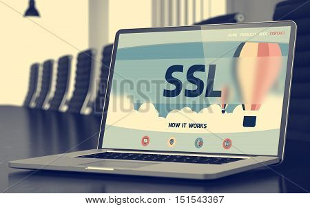 Ssl on Landing Page of Laptop Screen. Closeup View. Modern Meeting Hall Background. Toned Image with Selective Focus. 3D Rendering.
