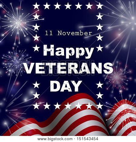 Happy Veterans day greeting card. Vector illustration.