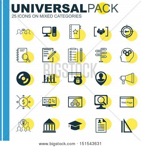 Set Of 25 Universal Icons On Keyword Marketing, Keyword Optimisation, Security And More Topics. Vect