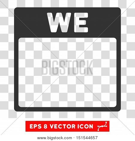 Vector Wednesday Calendar Page EPS vector icon. Illustration style is flat iconic gray symbol on a transparent background.