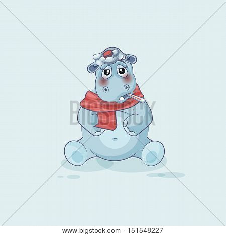 Vector Stock Illustration isolated Emoji character cartoon Hippopotamus sick with thermometer in mouth sticker emoticon for site, info graphics, video, animation, website, mail, newsletters, reports