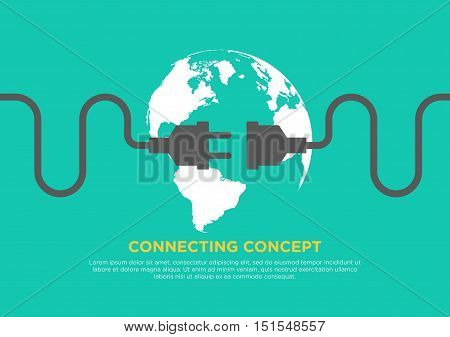 Connection concept flat design global connecting vector illustration