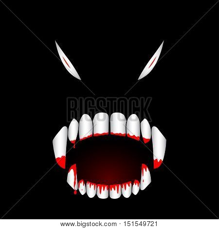 Monster bloody teeth vector illustration. Template for Halloween banner or greeting card.