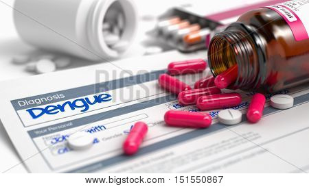 Dengue - Handwritten Diagnosis in the Disease Extract. Medicine Concept with Heap of Pills, CloseUp View, Selective Focus. 3D Illustration.