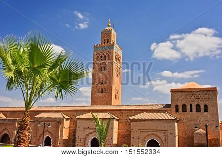 Koutoubia Mosque in the southwest medina quarter of Marrakesh Morocco poster