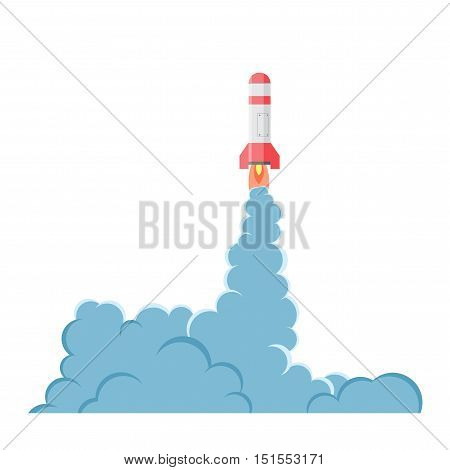 Cartoon vector bomb explosion with smoke. Cartoon style. Effect boom, explode flash, bomb comic. Blast with fire and cloud. Illustration of burst isolated on white background.