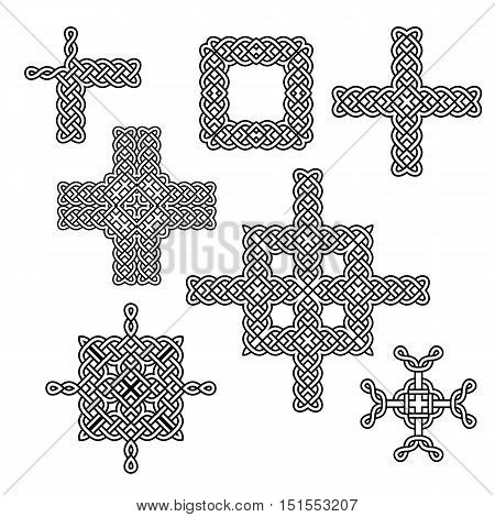 celtic knot elements borders and crosses vector set
