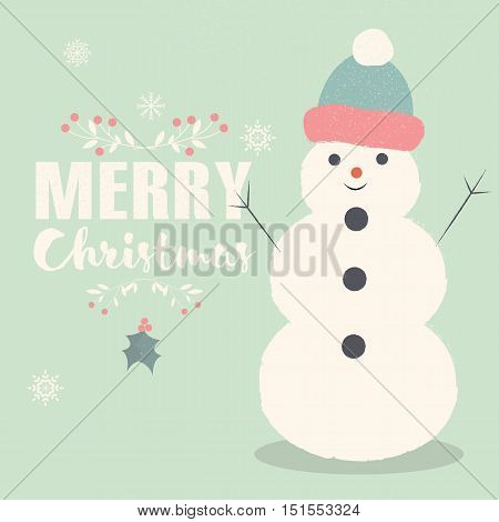 Merry Christmas lettering postcard with smiling Snowman vector illustration