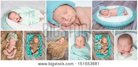 lovely sweet sleeping newborn babies card collage