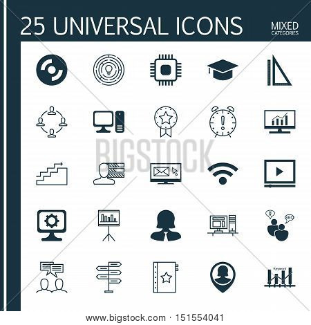 Set Of 25 Universal Icons On Measurement, Innovation, Growth And More Topics. Vector Icon Set Includ