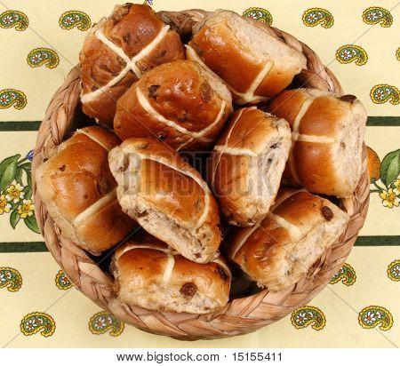 Basket of Hot cross buns