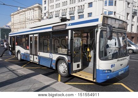 Moscow, Russia- 21.09 2015 Trolleybus route 33 on a Theatre Street