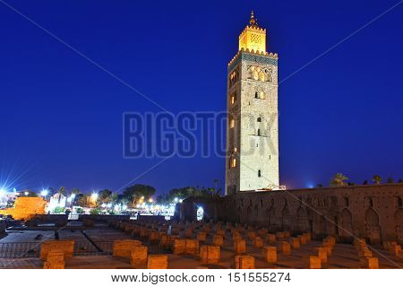 Koutoubia Mosque in the southwest medina quarter of Marrakesh Morocco after sunset
