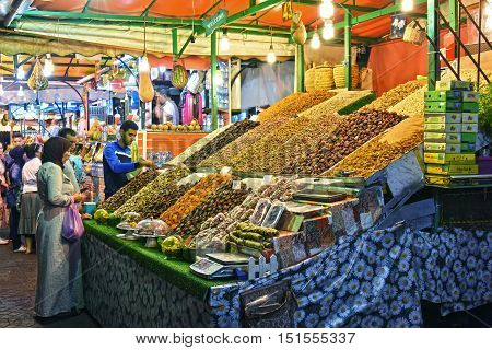 MARRAKESH MOROCCO - SEPT 22 2016: Market stall on Jemaa el-Fnaa square in Medina of Marrakesh Morocco UNESCO World Heritage Site