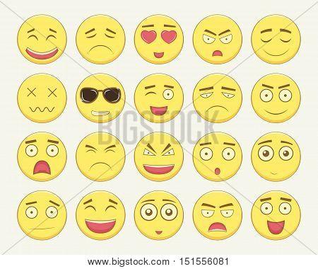 Emoticon set. Emoticon for web site, chat, sms. Modern flat design. Vector illustration poster