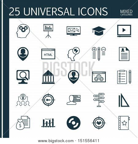 Set Of 25 Universal Icons On Newsletter, Laptop, Keyword Optimisation And More Topics. Vector Icon S