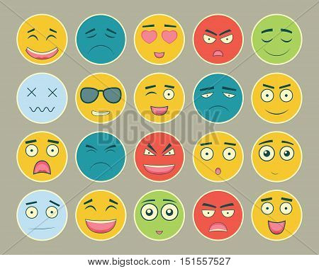 Emoticons flat design set. Emoticon for web site, chat, sms. Emoticons icons. Vector illustration