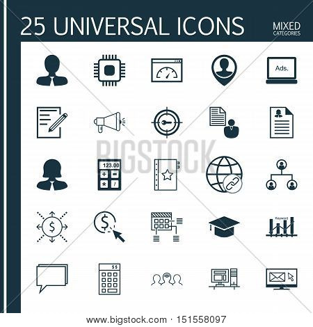 Set Of 25 Universal Icons On Keyword Optimisation, Money, Chip And More Topics. Vector Icon Set Incl