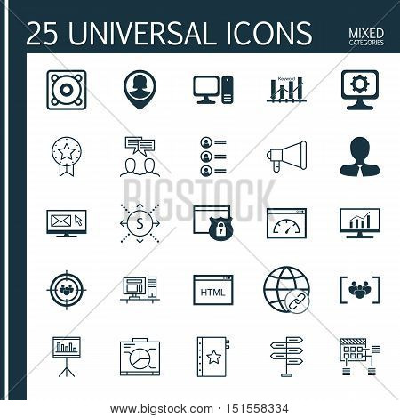 Set Of 25 Universal Icons On Announcement, Presentation, Focus Group And More Topics. Vector Icon Se